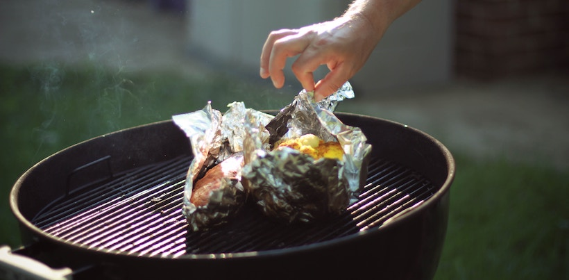 Grilling a fish on foil