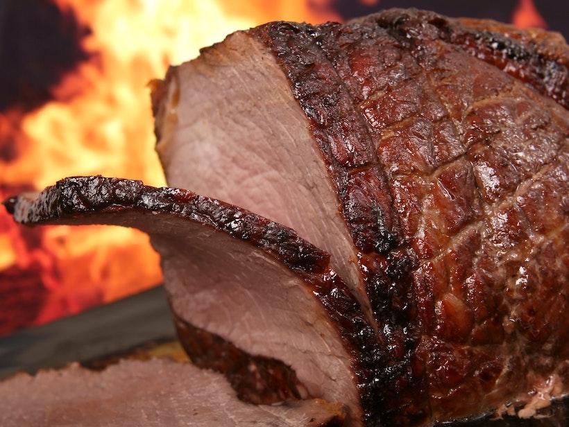 Closeup of a sliced ham