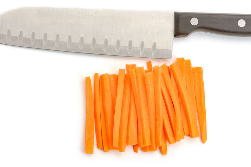 Santoku knife and carrot sticks