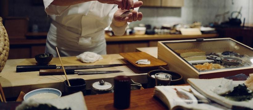 Sashimi knife on cutting board