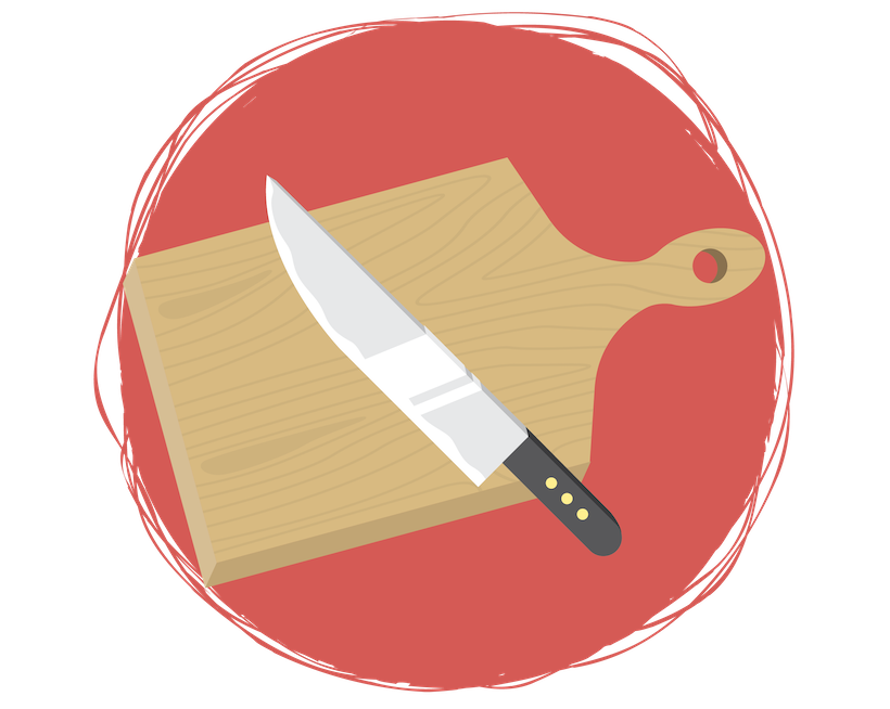 Cutting board with Chef's knife
