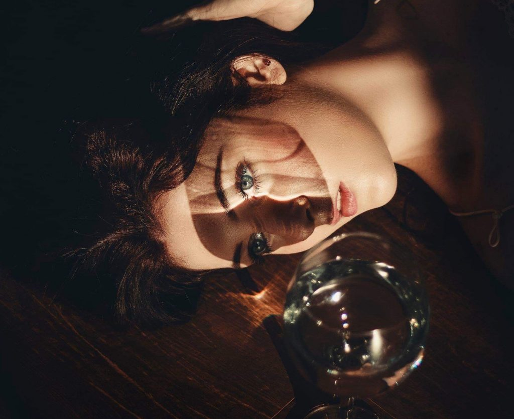 Beautiful lady with wine glass