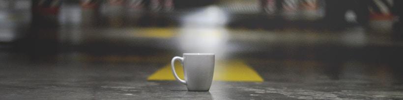 Coffee in parking garage at night