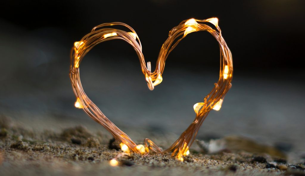 Bent wire and lights in a heart shape