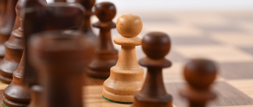 Chess pieces with a narrow depth of field