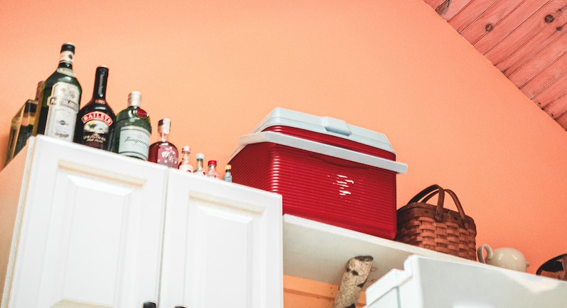 Cooler on Shelf with Alcohol