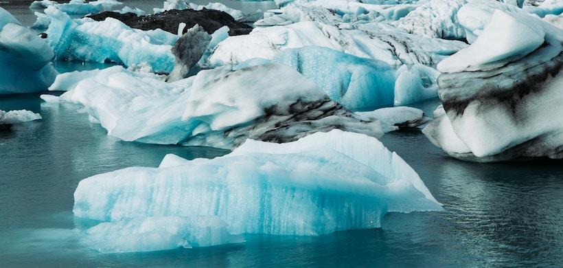 Ice on the water near an island