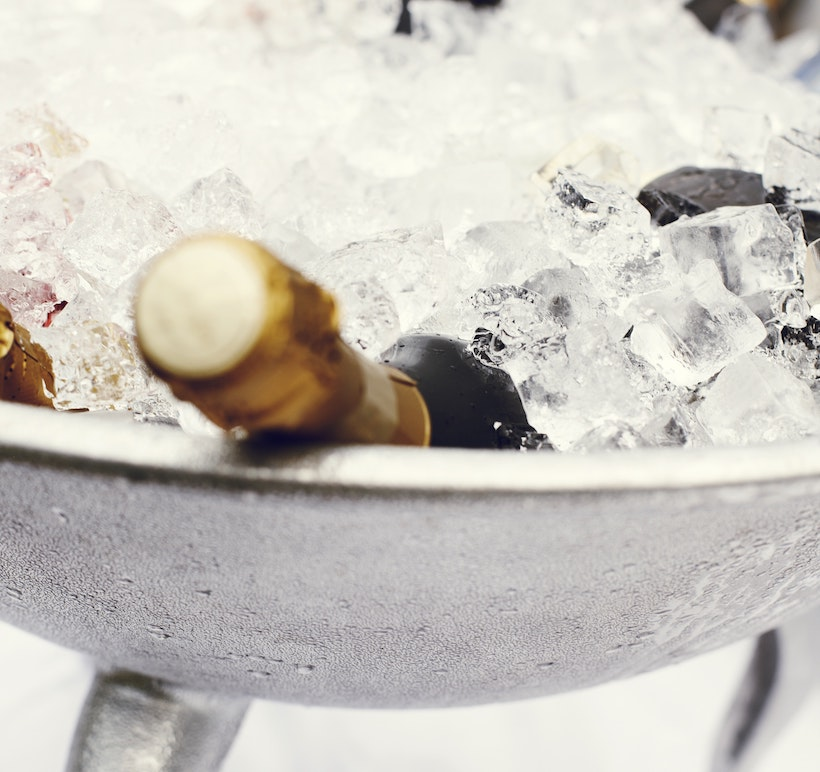 Wine in a bucket of ice