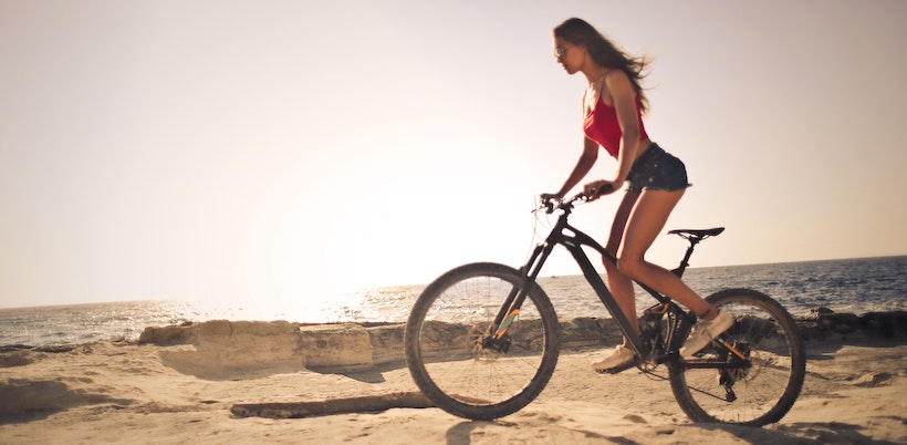 Woman on a mountain bike