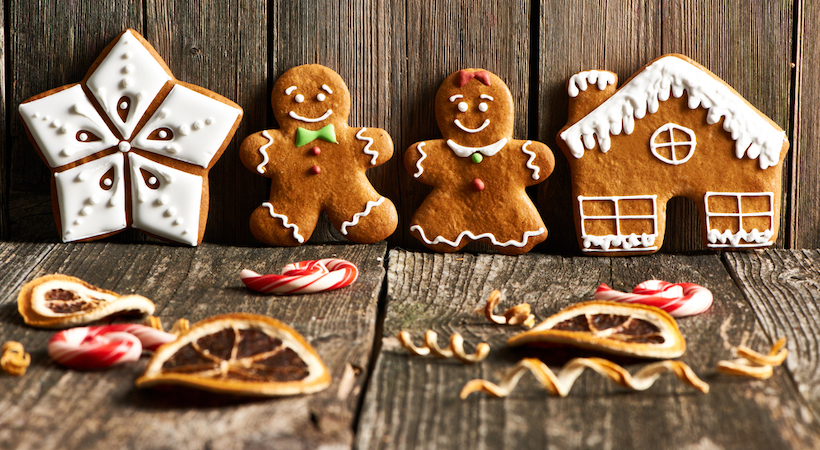Christmas homemade gingerbread cookies cookies on wooden table