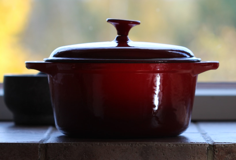 Dutch oven from the side on a stovetop