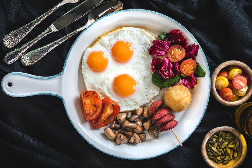 Ceramic Plate with Eggs and Breakfast