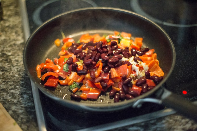Beans on an induction range in a non-stick pan