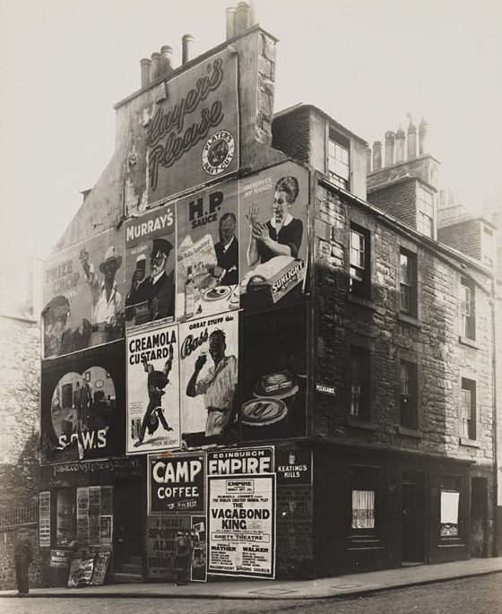 A Camp Coffee Ad on the side of a tenement in Edinburgh, Scotland.