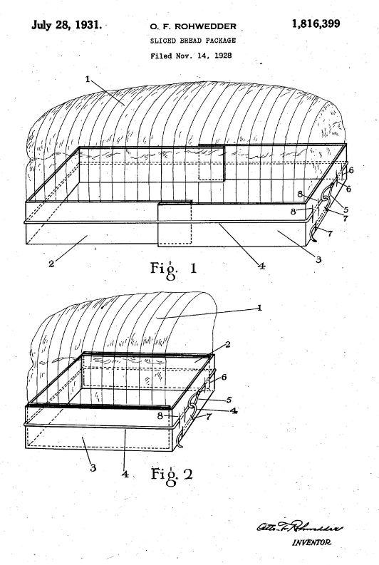 Otto Rohwedder's patent for packaged sliced bread.
