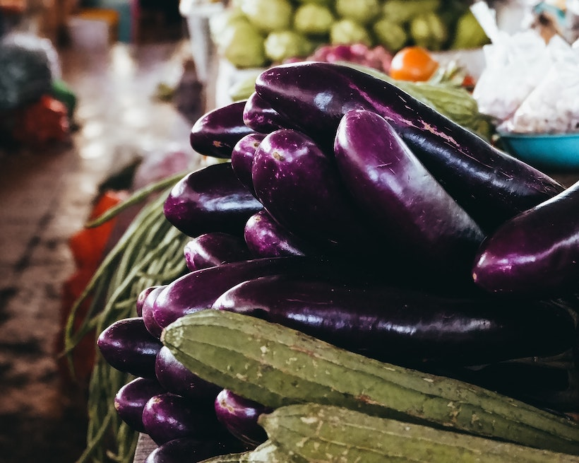 Eggplant and Zucchini at the Market