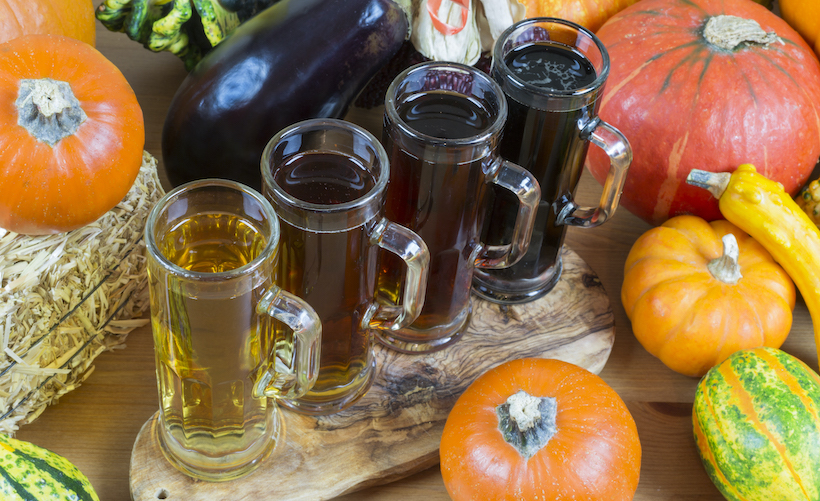 Flight of beer with pumpkins and gourds