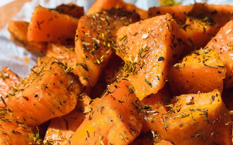 Herbs & spices on sweet potato