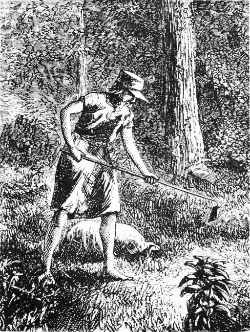 Drawing of Johnny Appleseed from 1871