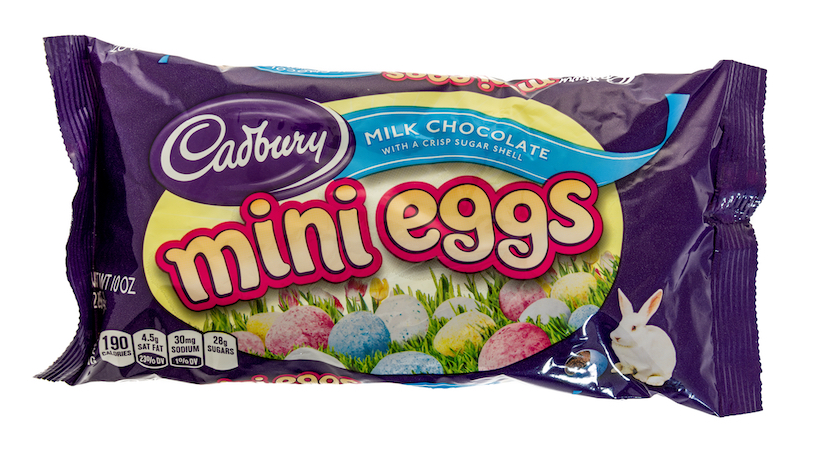 Bag of Cadbury mini eggs on an isolated background.